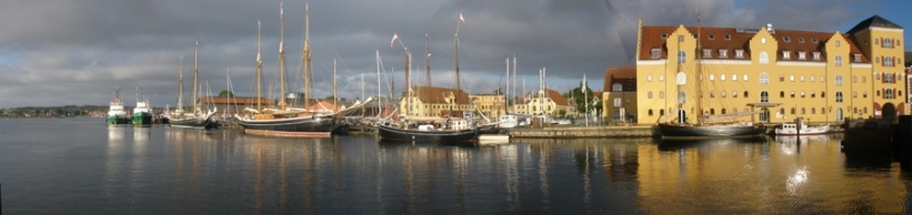Svendborg harbour, Funen, Denmark with the Mjølnir (centre)