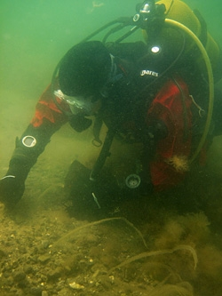 Kieran Westley excavating at Helnaes Bay